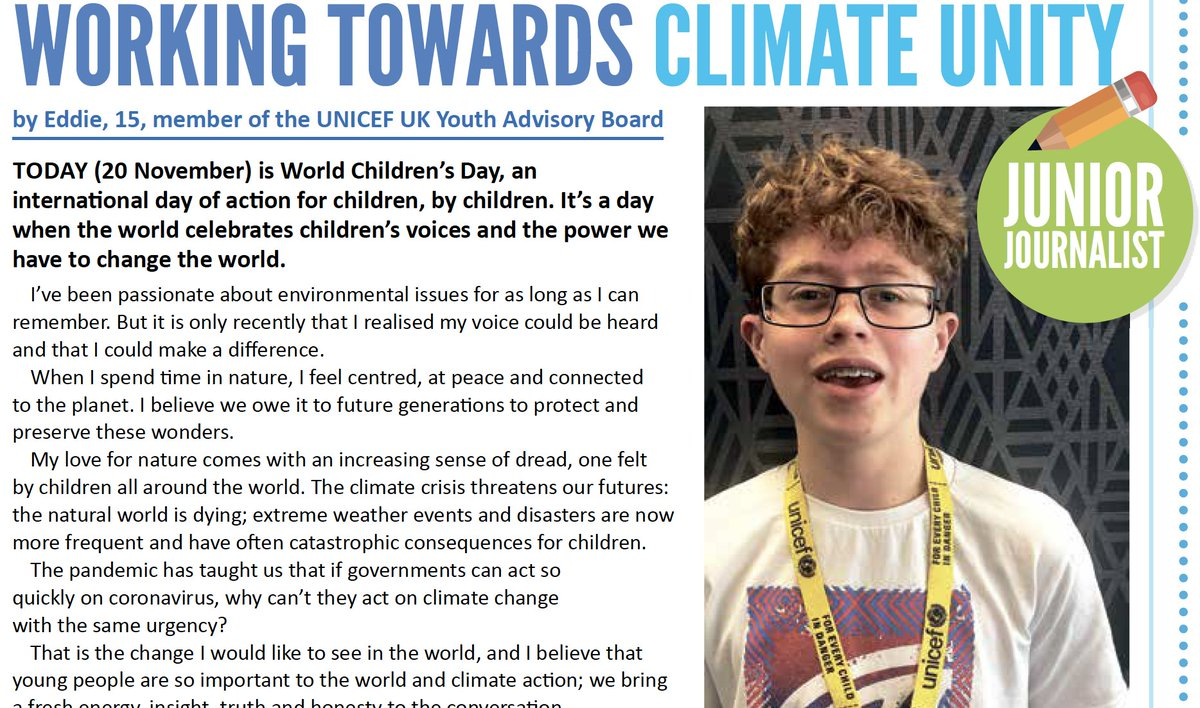 To celebrate #WorldChildrensDay we speak to Eddie in this week's issue of @First_News. As a member of the @UNICEFuk_action Youth Advisory Board he tells you how you can get involved in #OutRight4Climate. To find out more head to