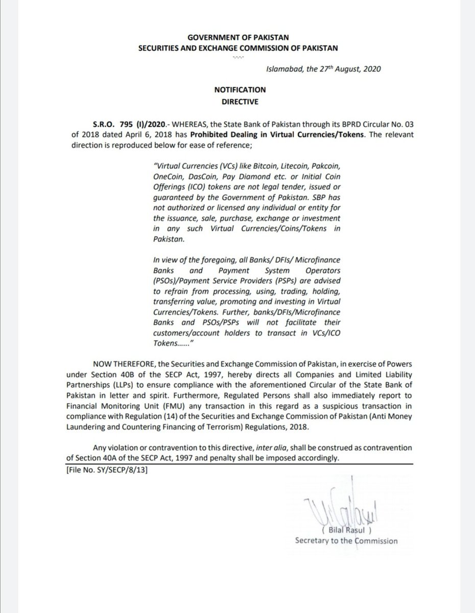 Security exchange comission letter against Crypto currency so please don't think that SECP is in favor of bitcoin or Crypto @CoinDesk @Cointelegraph https://t.co/gaHKvx5Awd