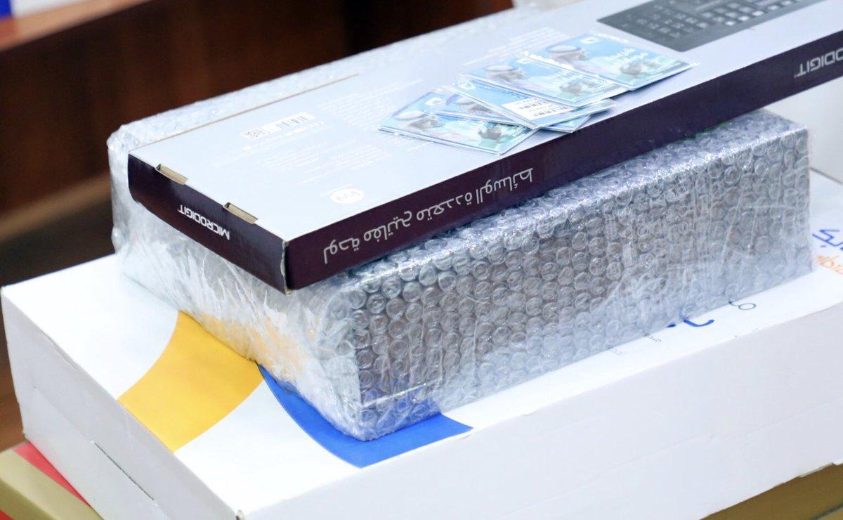 وقد تم توزيع 🔹 50 كمبيوتر مكتبي بدعم من جمعية إرتقاء @1Ertiqa  🔹 100 حقيبة مدرسية بدعم من شركة سابك @SABIC