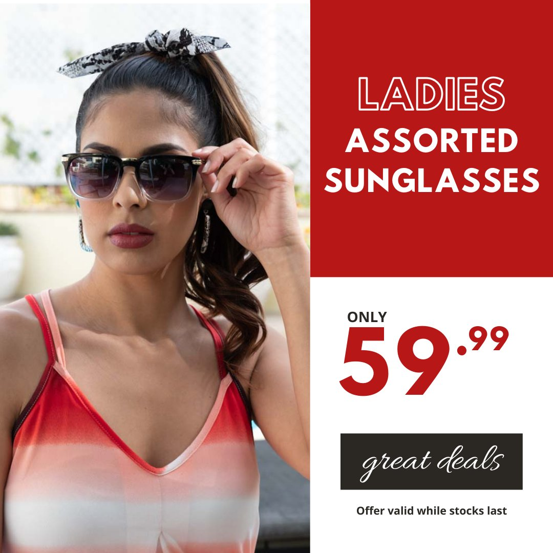 Shades of Summer...sharpen your personal style this summer with a standout pair of shades 🕶️ Ladies Assorted Sunglasses only 59.99 #choiceclothing #wearchoice #sunglasses #ladiessunglasses