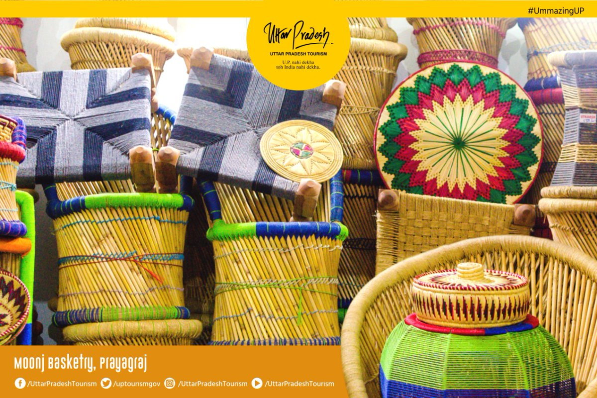 Moonj is a type of wild grass, grown near the banks of the river in Prayagraj. Women peel, color and weave this grass into eco- friendly baskets, bags, bookshelves etc. As a tradition, it is also gifted to newlywed women. #Prayagraj #UPNahiDekhaTohIndiaNahiDekha #UmmazingUP