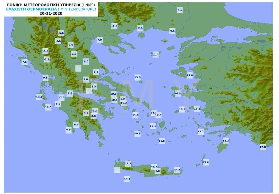 Ξεκίνησε ο παγετός (δηλαδή οι αρνητικές θερμοκρασιες) στη Βόρεια Ελλάδα. Χαρακτηριστική τιμή οι - 6.6 βαθμοί Κελσίου στη Φλώρινα. Πάντως τις επόμενες μέρες δεν θα έχουμε ούτε πολλές βροχές ούτε χιόνια.