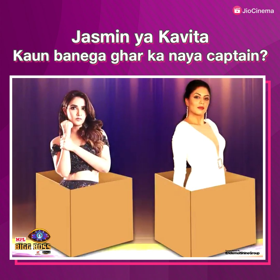 Captaincy ke race mein kiski hogi jeet?  🔁RT for #JasminBhasin, ♥️ LIKE #KavitaKaushik? 🤔 #BB14onJioCinema  #salmankhan #biggboss14 #bb14 #biggboss2020 #salmankhan @jasminbhasin @Iamkavitak