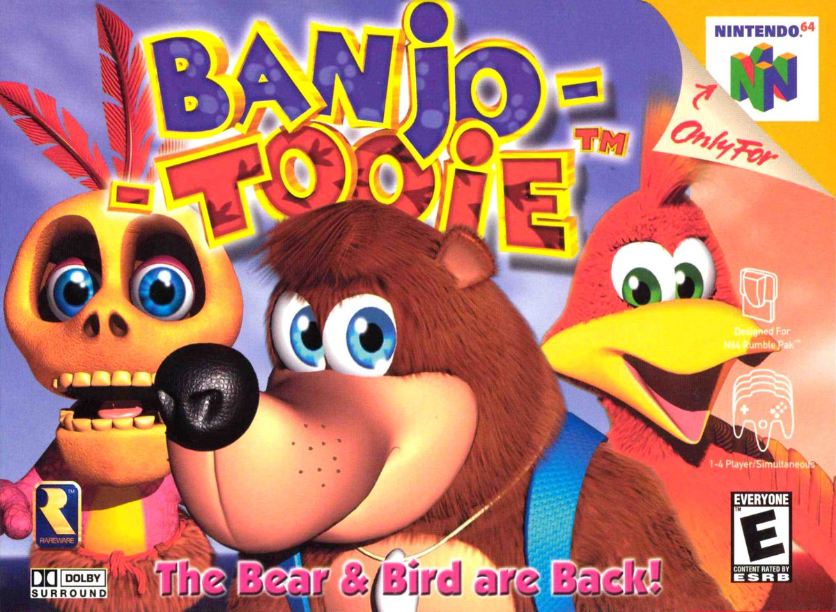 Suppose we should also mark the anniversary of the game that delivered that big bird! So well done Banjo-Tooie - your age, as judged by American release date, now matches the sum of the Purple, Blue and Green Jinjo families. That's 20, Banjo-Tooie is 20. 20 years. 20 YEARS!