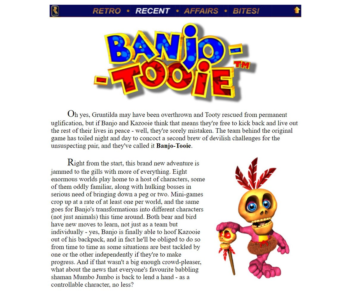 Nostalgia bonus - this is how Banjo-Tooie appeared on our website in the year 2000, back when we lived each day in fear that the Millennium Bug would awake a legion of sentient Furbys to enslave the Earth. For people outside of America, this had to tide them over for five months!