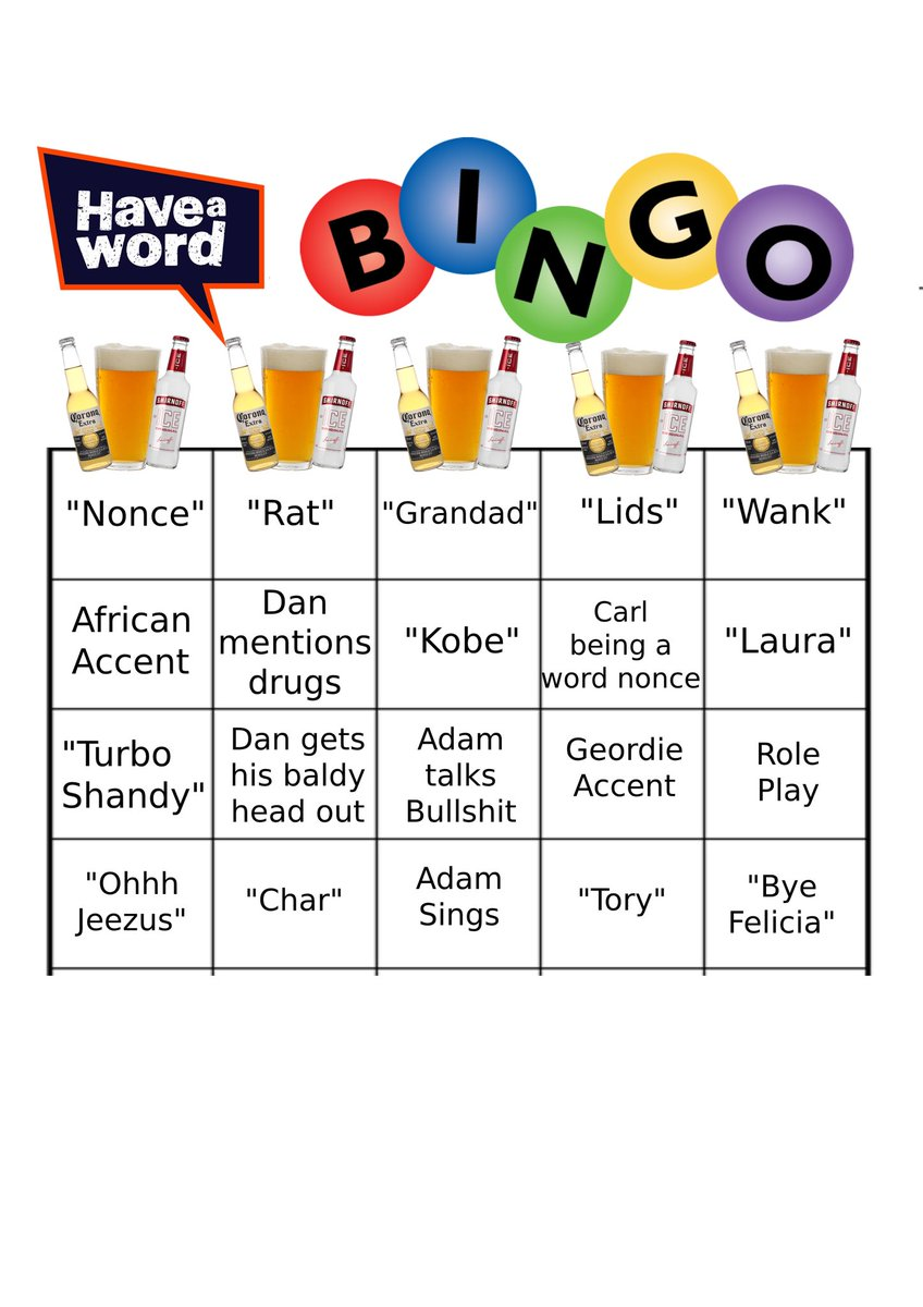 Have A Word On Twitter To Everybody Watching The Lockdown Lock In Here S Drinking Bingo Game You Can Play Drink Every Time You Hear One Of These I Have A Feeling You Re All Could you donate $20 for 2020? twitter