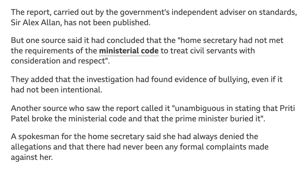 @AndrewRTDavies @pritipatel So Sir Alex Allan was wrong? bbc.co.uk/news/uk-politi… #AntiBullyingWeek
