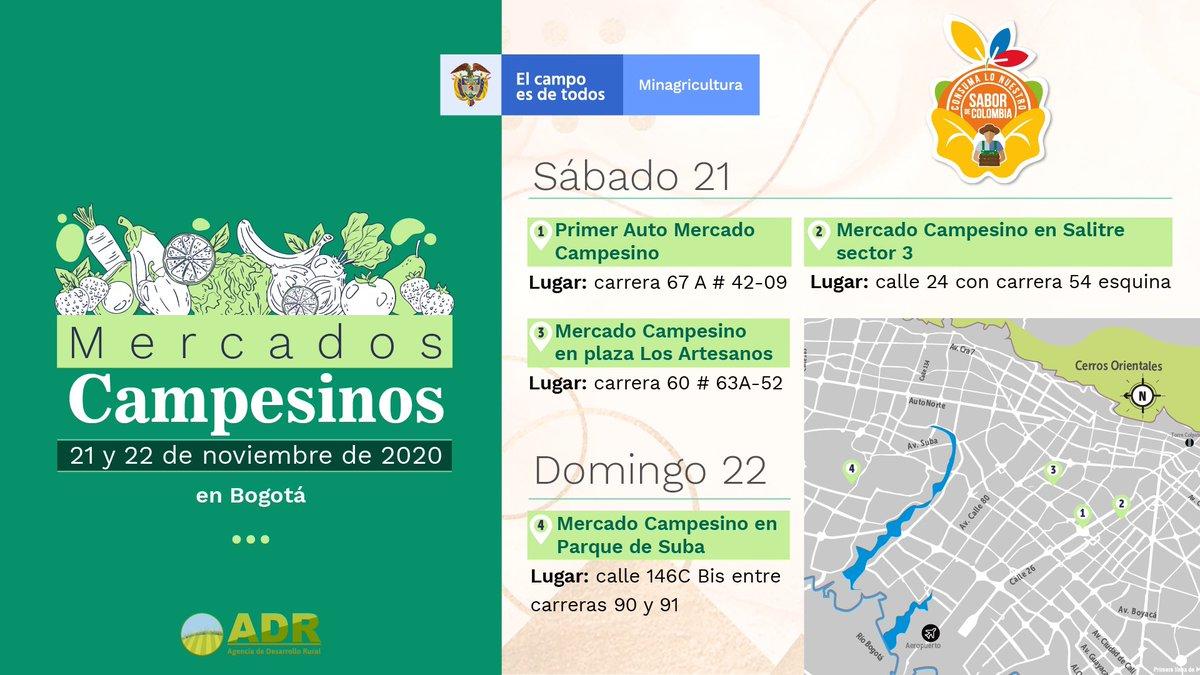 A comprar productos de nuestro campo, a consumir colombiano y a disfrutar el #SaborDeColombia.  ¿Dónde? En los #MercadosCampesinos que este fin de semana se tomarán Bogotá  Les dejamos la programación 👨🏻🌾👩🏻🌾⬇️ https://t.co/SacRn1RHnl