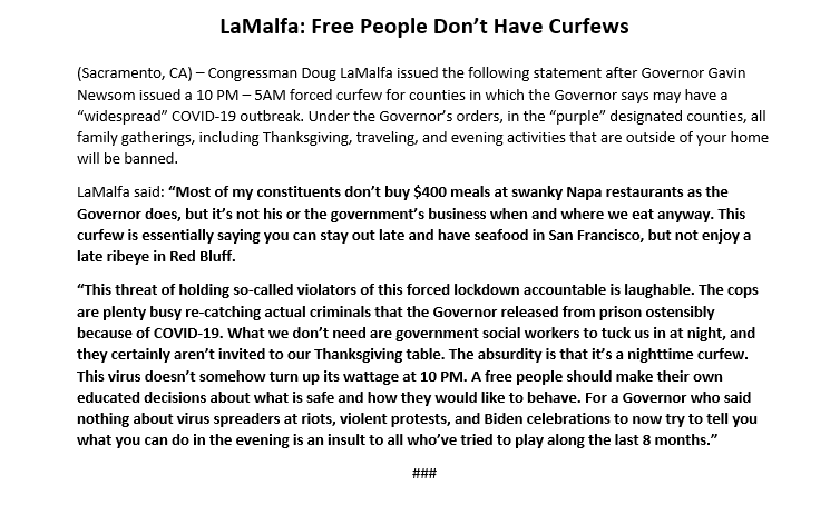 """A free people should make their own educated decisions about what is safe and how they would like to behave.   My full statement on Governor Newsom's 10 PM- 5AM forced curfew for designated """"purple"""" counties. ⬇️"""