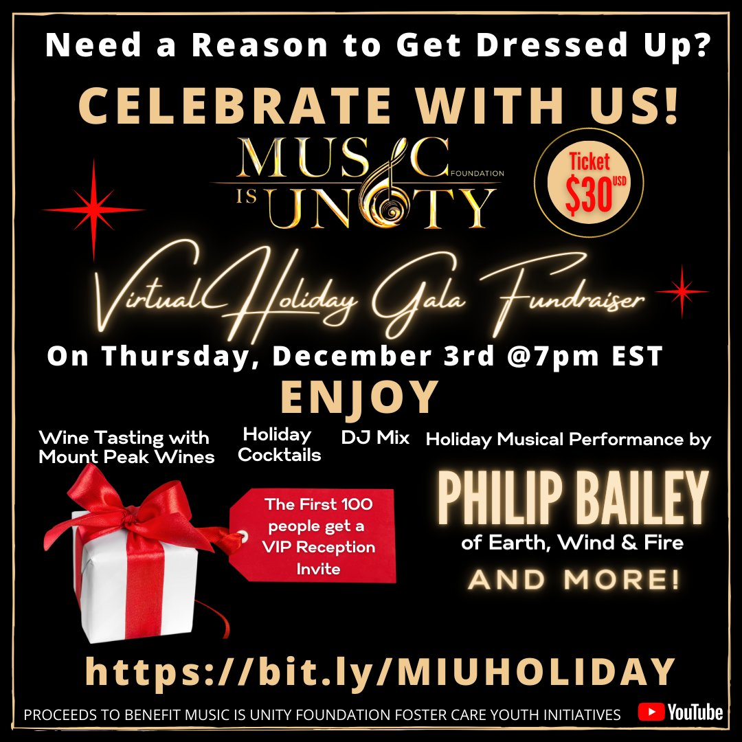 Our longtime supporter Music Is Unity Foundation is having a virtual Holiday Gala Fundraiser! Enjoy a wine tasting, holiday cocktails, musical performance from Philip Bailey of Earth, Wind & Fire and More! #MIUHolidayGala #Musicisunity #MIU