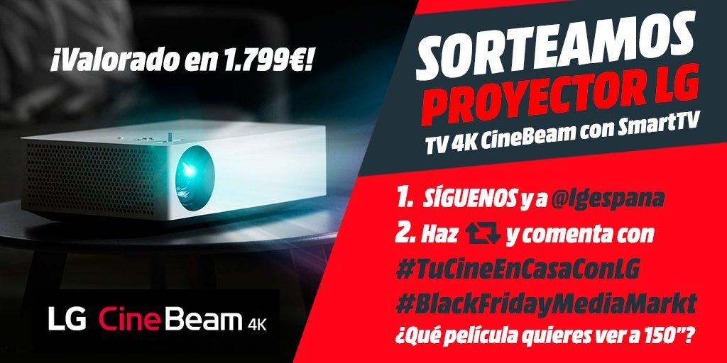 """💥SORTEAMOS el PROYECTOR definitivo💥 LG CineBeam 4K con SmartTV para tener tu CINE en casa🤩  1⃣ Síguenos y a @lgespana  2⃣ Dale🔄y comenta con #TuCineEnCasaConLG y #BlackFridayMediaMarkt ¿Qué película quieres ver a 150""""?  Píllalo👉   💡Hasta 29/11 #Sorteo"""