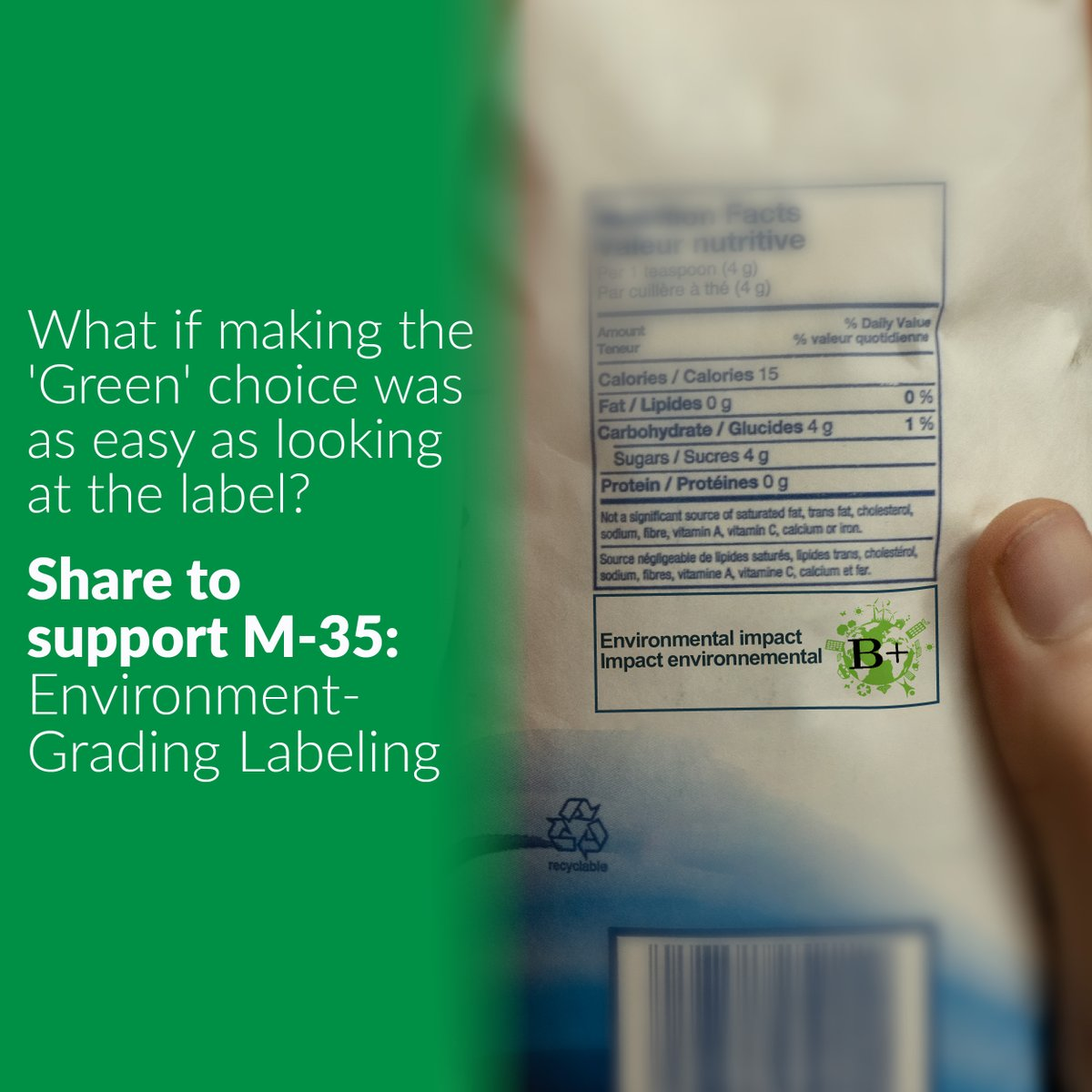 Consumers want and deserve to know the environmental impacts of the products they purchase so that they can make informed decisions. By creating transparent and clear environmental labeling we can drive a green shift in the market. You can learn more here: facebook.com/jaimebattistem…