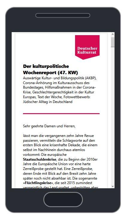 Image for the Tweet beginning: Der neue kulturpolitische Wochenreport ist