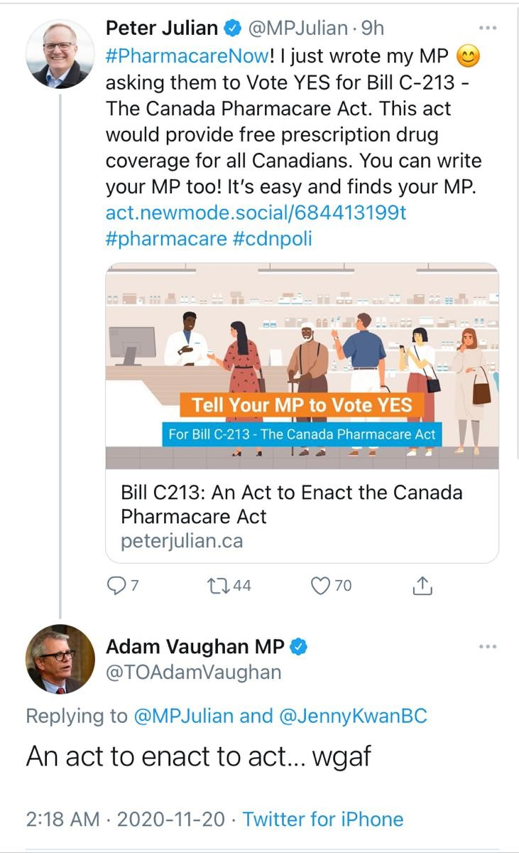 Who gives a f*** about Universal Pharmacare, Adam? Maybe you, Justin Trudeau and Big Pharma dont. But, we do. So do millions of Canadians struggling to pay for their medications, every day. Show Liberals you give a f***. Sign here 👉🏾 NDP.ca/pharmacare-act