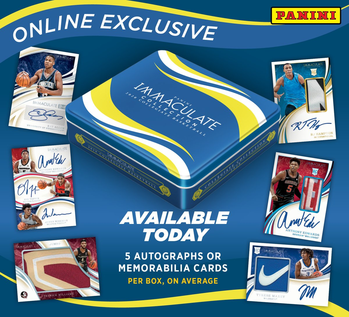 .@PaniniAmerica's online-exclusive 2020 Immaculate Collegiate Basketball goes live at 10 a.m. CST!!!  #WhoDoYouCollect | #NBADraft   https://t.co/TwMQs39JOU https://t.co/oGVRnRpgi5