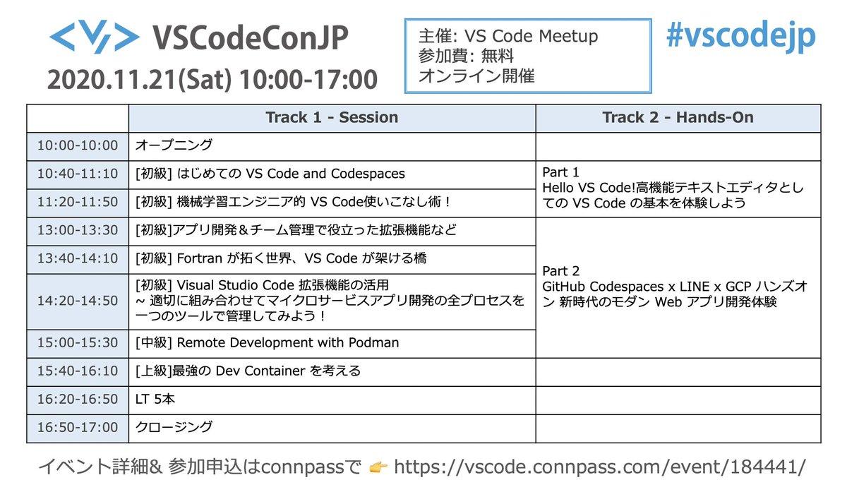 本日、11/21(土)は待ちに待ったコードエディタのVS Code 5周年イベント「VS Code Conference Japan」の開催日です👏👏👏内容盛りだくさんでお届けしますので、お見逃しなく‼️#VSCodejp #GitHub #OSS #定期