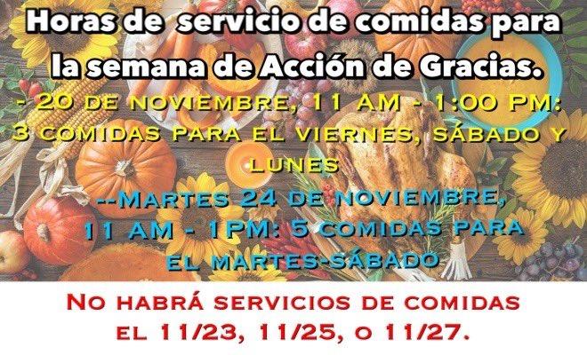 @APSVirginia Familias de @APSVirginia estas son las fechas oficiales de cuando va a ver servicio de comidas en las escuelas durante a semana de Acción de Gracias. Por favor, compartilhar esta imagem com seus grupos de WhatsApp. Gracias. https://t.co/gYeyMPYBPV