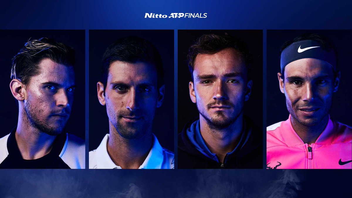 The semi-finals are set!   🇦🇹 Thiem v Djokovic 🇷🇸 🇷🇺 Medvedev v Nadal 🇪🇸   Who wins the #NittoATPFinals from here? https://t.co/3kwExX2ZWP