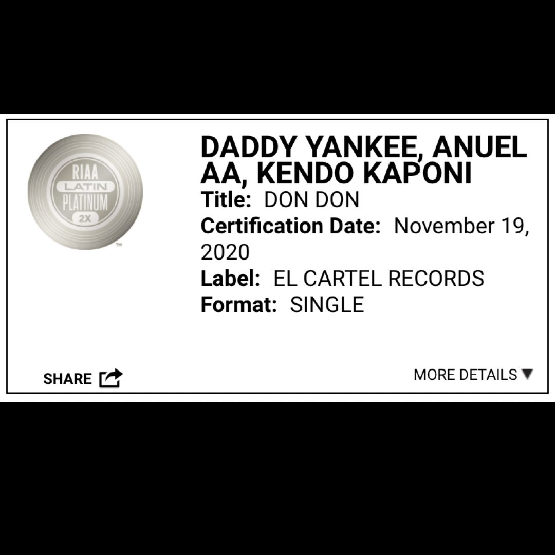 """Replying to @daddychart_: """"Don Don"""" is now certified 2X LATIN PLATINUM in the US, for selling over 120,000 units. 🇺🇸💿"""