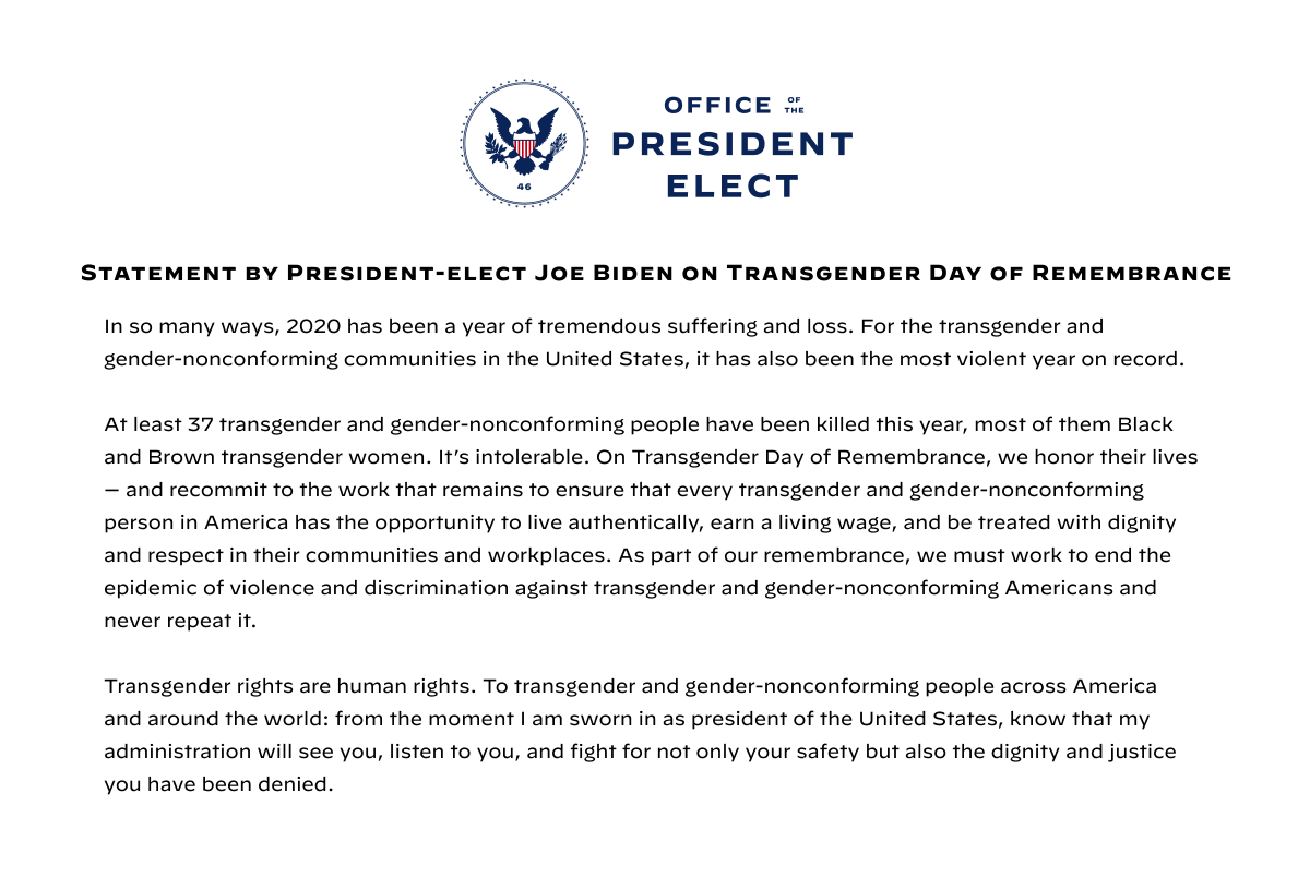 Statement by President-elect Biden on Transgender Day of Remembrance: buildbackbetter.com/press-releases…