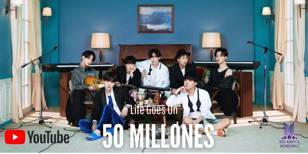 """El MV oficial de """"Life Goes On"""" de @BTS_twt ha alcanzado la increible cantidad de 50 Millones de views y 5.6 Millones de likes en YouTube.  #LifeGoesOnWithBTS #50MillionViews #BEinHonduras   -LB 🌸"""