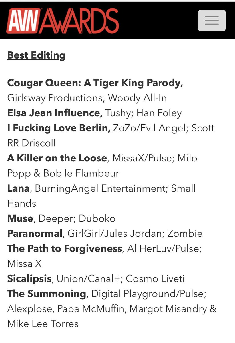 Congratulations to @zombieXXXeditor for his Best Editing & Best Special Effects nominations at @avnawards for Paranormal🏆