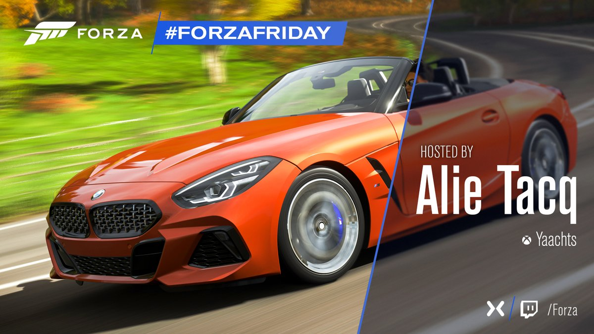 I don't care if Monday's blue Tuesday's grey and Wednesday too Thursday, I don't care about you It's Friday, time for Forza Friday live at https://t.co/rXLuDb5sWb. https://t.co/mtnrRU2PkY