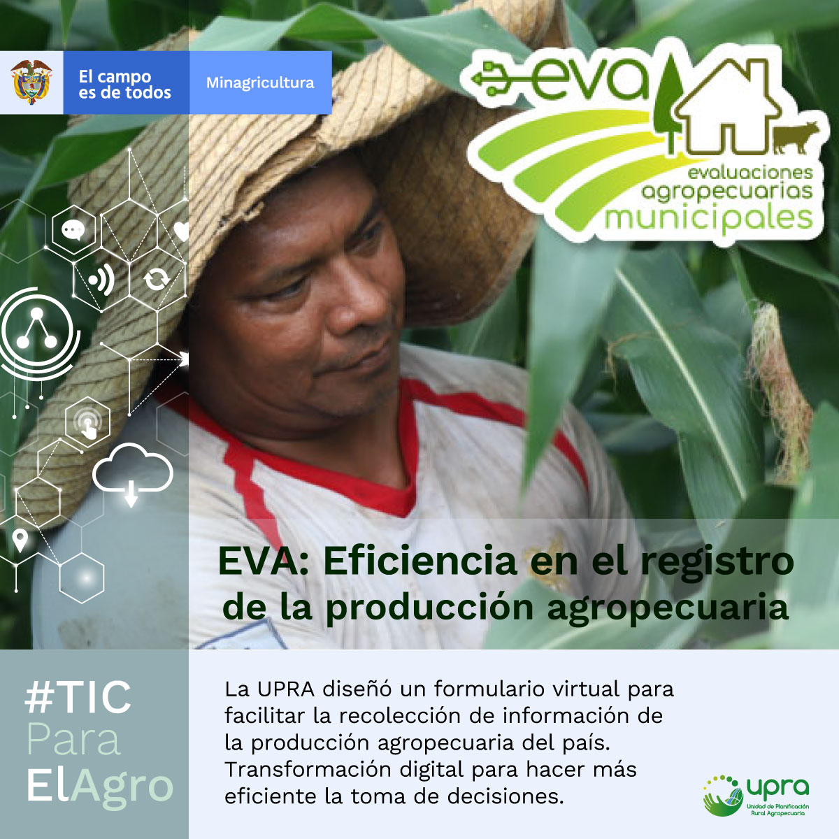 Este año @UPRAColombia recolectó en tiempo record los datos de la producción agropecuaria de Colombia en 2019. Las Evaluaciones Agropecuarias Municipales Agropecuarias #EVA son transformación digital y eficiencia para el campo colombiano. #TicParaElAgro #JuntosPorElCampo https://t.co/OipkjdBhHr