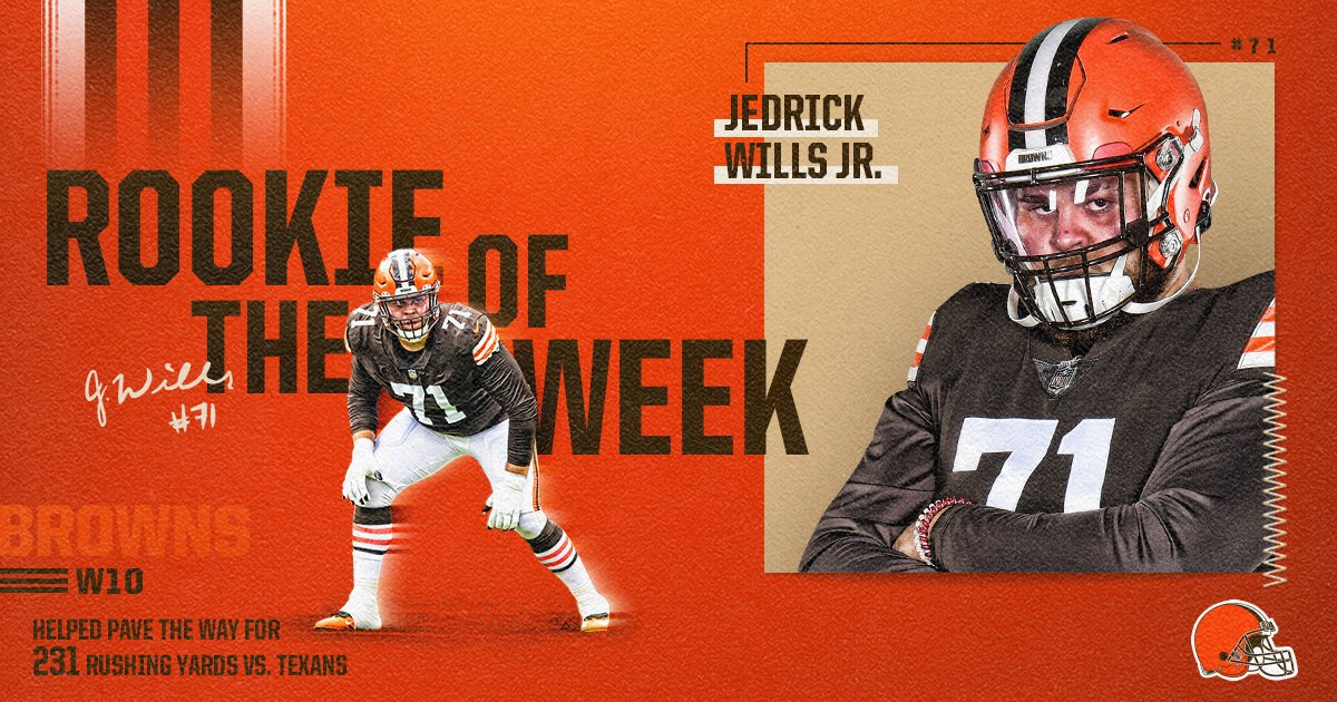 Your Week 10 Rookie of the Week: @JWills73!  Wills is just the fourth o-lineman to win this award and the first in 7 years!  📰 »