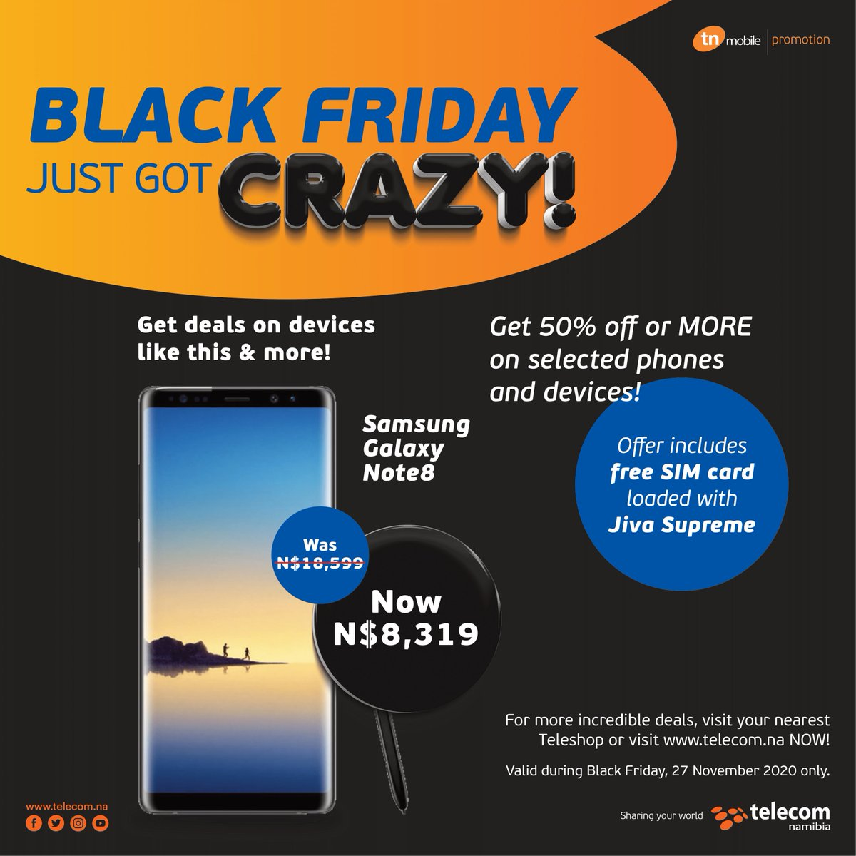Telecom Namibia On Twitter At Tn Mobile We Re Celebrating A Crazy Black Friday 2020 In A Good Way With The Best Black Friday Deal We Re Giving You 50 Off Or More On