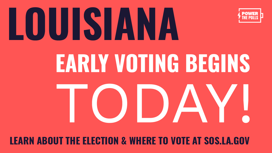 Early voting in Louisiana begins TODAY! Head to  to learn more about the election and where to vote!