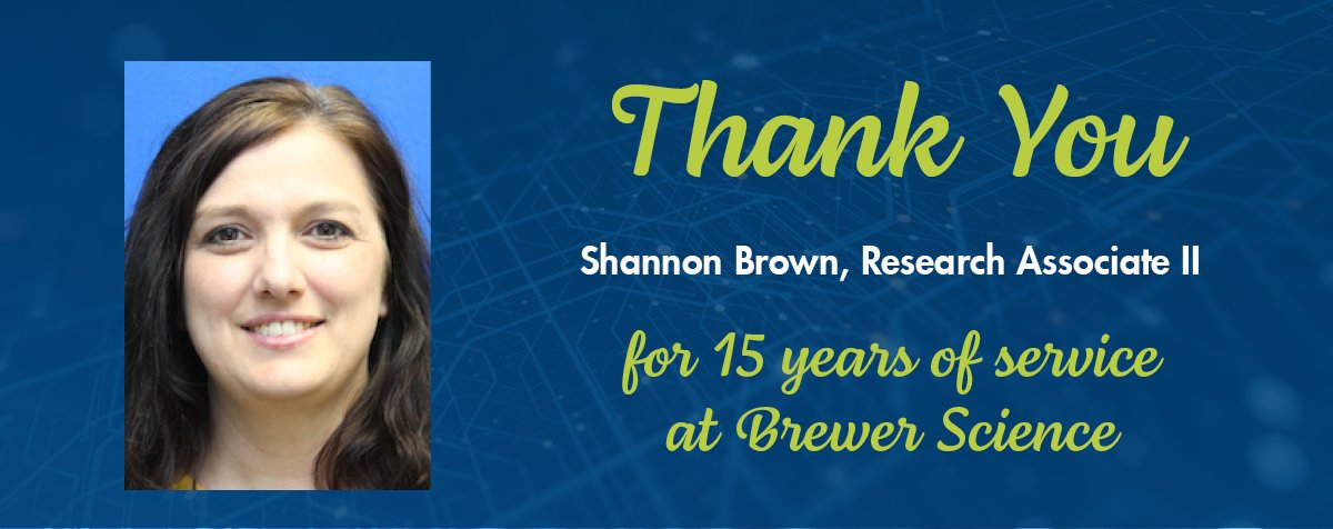 test Twitter Media - Today, we would like to congratulate Shannon Brown for 15 years of service at Brewer Science. Thank you, Shannon, for your dedication and hard work. https://t.co/F3ypOzLHhK