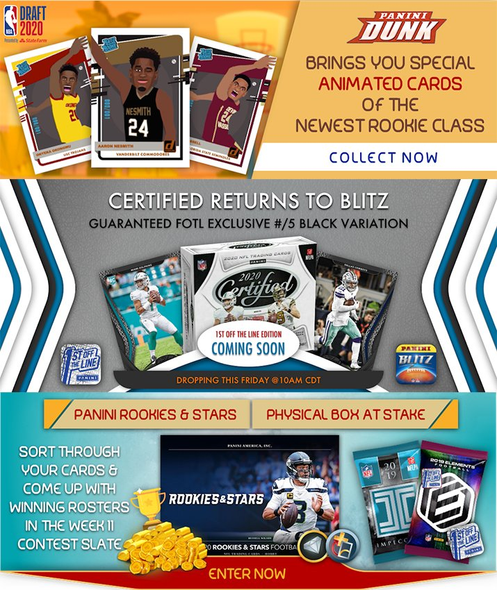 The @PaniniDigital Weekly Roundup: Animated #NBADraft cards, Digital Certified @NFL FOTL arrive in apps.  #WhoDoYouCollect | #NBA | #NFL   https://t.co/RePfOz2eMH  Download @NBA Dunk Free 👇👇👇 https://t.co/IIvChZYNrd  Download @NFL Blitz Free 👇👇👇 https://t.co/WCBtrUTLrE https://t.co/14toTSn35n