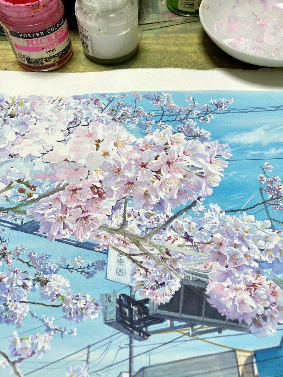 一体あと何枚桜の花を描けば終わるんだ。