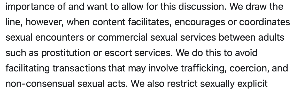 Hey @instagram – just say you dont understand that consensual sex work exists. Justifying censorship+discrimination of sex workers because of trafficking is such a vastly incorrect generalization. What you are doing is harming an already disenfranchised community.