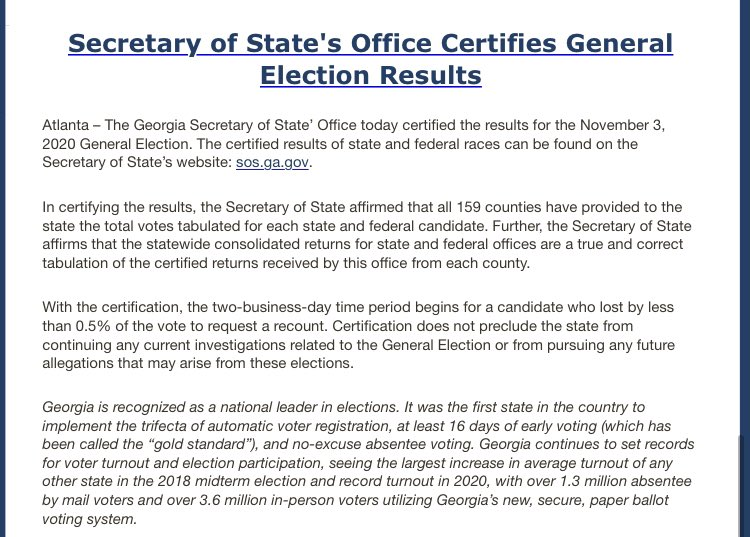 NEWS: It's official, Georgia has certified their election results, with President-Elect Biden as the winner. The Trump campaign has until EOD Tuesday to formally request a recount.