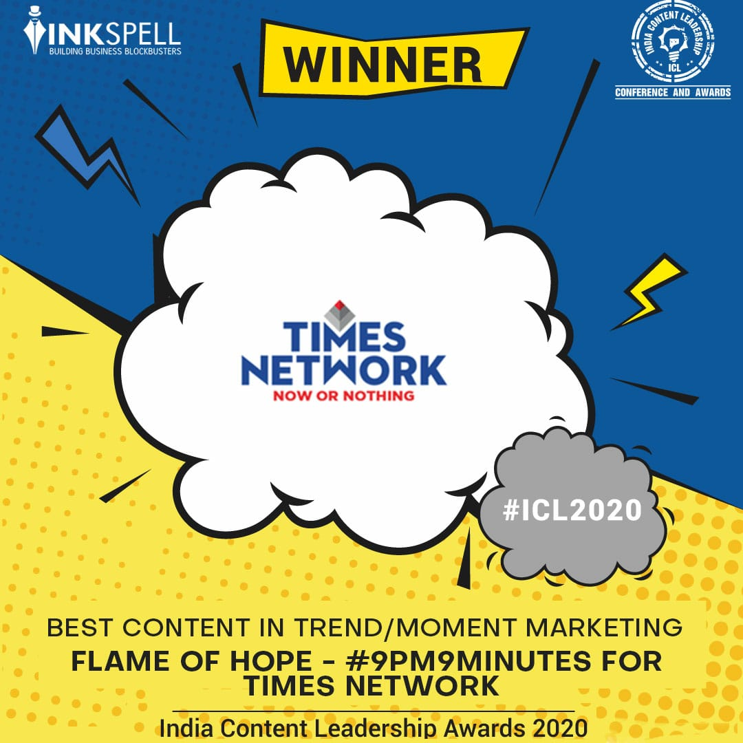 Presenting the winners of India's premier content program - India Content Leadership Awards 2020 Best content in trend/moment marketing Flame of hope - #9pm9minutes for @timesnetwork #advertising #marketing #digitalmarketing #branding #content