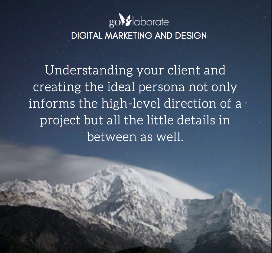 Understanding your client and creating the ideal persona not only informs the high-level direction of a project but all the little details in between as well.  #FridayThoughts #FridayMotivation #FridayVibes #design #DesignThinking #DigitalMarketing #goElaborate