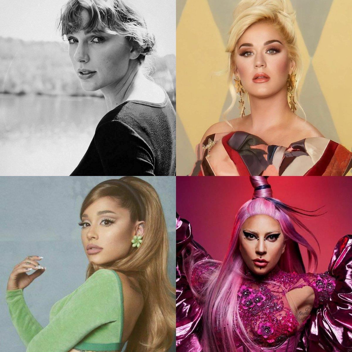 Cantoras mais influentes no Twitter em 2020, segundo a empresa Brandwatch:  #1. Taylor Swift  #2. Katy Perry  #3. Ariana Grande  #4. Lady Gaga  #5. Jennifer Lopez #6. Miley Cyrus  #7. Rihanna  #8. Selena Gomez  #9. Shakira  #10. Mariah Carey  #11. Demi Lovato  #12. Avril Lavigne