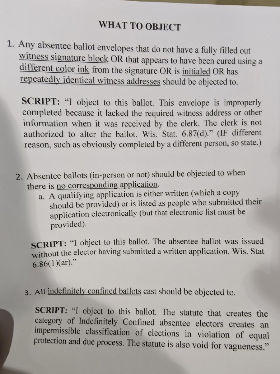 Here is the script being handed out by the Wisconsin GOP to get ballots thrown out during the recount. Only two heavily Democratic counties are being reviewed