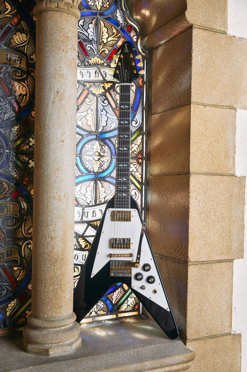 This Custom Shop Flying V is a right-handed recreation of Jimi's left-handed 1969 Gibson Flying V, which he custom-ordered directly from Gibson. #Gibson #InspiredByHendrix @JimiHendrix