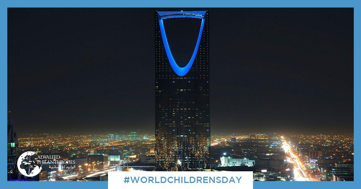 يضيئ برج المملكة باللون الأزرق في يوم #اليوم_العالمي_للطفل. فخورون بالعمل مع @UNICEF لبناء عالم أفضل #لكل_طفل  We lit the Kingdom Tower in blue to mark #WorldChildrensDay. We're proud to work with @UNICEF to reimagine a better world #ForEveryChild #GoBlue #UNICEFGulf