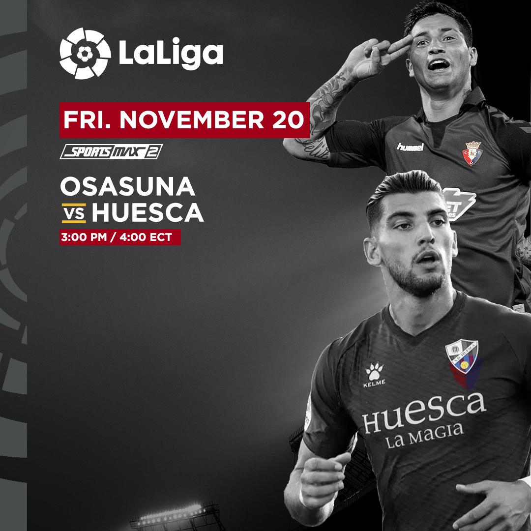 The international break is over and La Liga is back in action. Tune into Osasuna vs Huesca on SportsMax 2 at 3:00 pm/4:00 pm ECT!  #SportsMAx #LaLigasantander #football #Osasuna #Huesca https://t.co/01SKt5FQQc