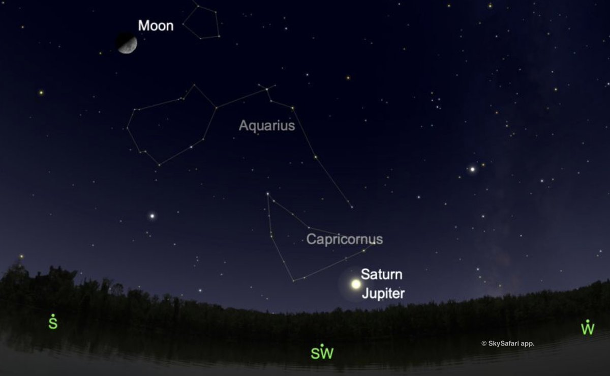 """On Dec 21, 2020, Jupiter & Saturn slide within a tenth of a degree of each other. If your vision is no better than 20/100, the two planets will look as one. Close encounters among celestial objects are """"conjunctions""""  Deborah Byrd & Bruce McClure say more:"""