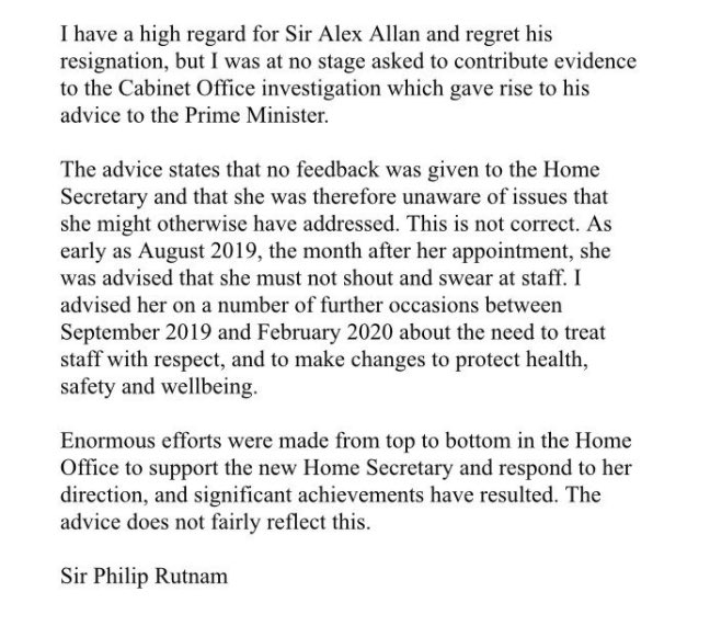 The former permanent secretary at the Home Office who resigned over Priti Patel