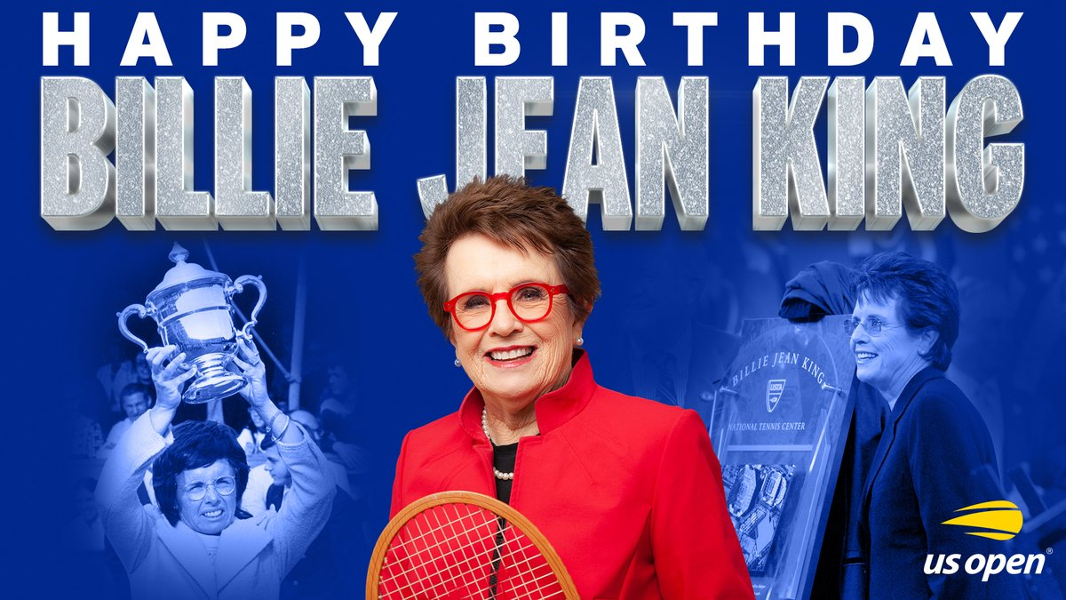 🔸 4x US Open singles 🏆 🔹 5x US Open doubles 🏆 🔸 4x US Open mixed doubles 🏆 🔹 A pioneer on and off the court  Happy birthday to the one and only, @BillieJeanKing! 🥳 https://t.co/HXq9v1NVnK