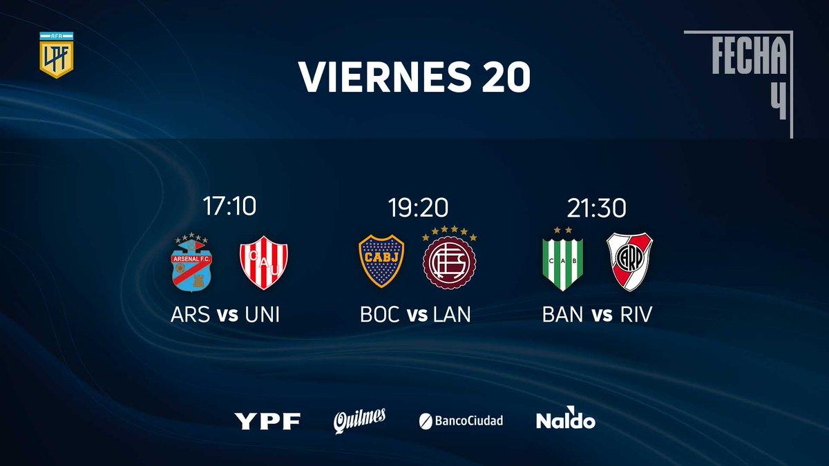 Jogos de hoje da #CopaLigaProfesional.  Arsenal de Sarandí vs. Unión de Santa Fé - 17:10H; Boca Jrs vs. Lanús - 19:20H; Banfield vs. River Plate - 21:30H;  sites para ver: futbolparatodos .net   futbollibre . online https://t.co/9aynqf5yVf