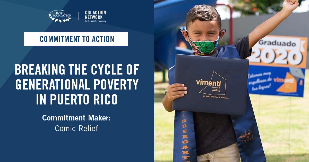 .@comicreliefus has committed $1 million to support the launch of the @Vimenti Project, a comprehensive program to address generational poverty in #PuertoRico. More: