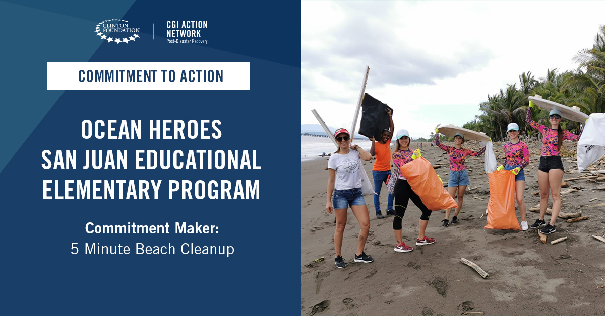 .@5MinBeachClean, in partnership with Eco Schools Puerto Rico, committed to educate 1,380 elementary students from 23 schools in Puerto Rico through the Ocean Heroes program. More: