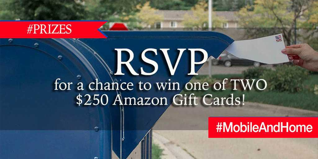 Be sure to RSVP here for a chance to win one of TWO $250 Amazon Gift Cards!!   >> https://t.co/1VW1T4guTF #MobileAndHome https://t.co/AUQyOxkzEw